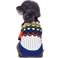 """Blueberry Pet Over the Rainbow Multicolor Argyle Pattern Shawl Collar Dog Sweater, Back Length 16"""", Pack of 1 Clothes for Dogs"""
