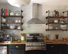 Farmhouse Rustic Wall Unit Deep wide with three shelves, Industrial floating shelves, Farmhouse Kitchen Shelves, Open Shelves Industrial Floating Shelves, Floating Shelves Bathroom, Rustic Kitchen, New Kitchen, Kitchen Decor, Kitchen Storage, Open Shelf Kitchen, Office Storage, Kitchen Cabinets And Open Shelving