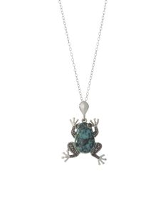 Turquoise & Marcasite Frog Pendant Necklace | zulily  #streetstyle