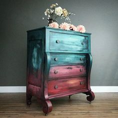 "SOLD* Extra Large antique empire style dresser, chest of drawers painted blue turquoise coral red orange ""Sunset Empire"" Modern Vintage Vintage Bedroom Furniture, Funky Furniture, Colorful Furniture, Repurposed Furniture, Rustic Furniture, Furniture Makeover, Waverly Chalk Paint, Style Empire, Chalk Paint Furniture"