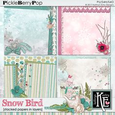 Snow Bird Stacked Papers in Layers :: Coordinates with the entire Snow Bird Digital Scrapbooking Collection by Kathryn Estry @ PickleberryPop $3.99