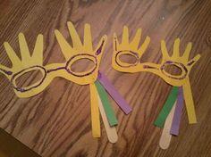 Handprint Mardi Gras Masks