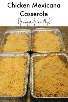Chicken Mexicana Casserole - Freezer Friendly Meal making extra for a dinner when cooking is just not on the clock. Freezer Friendly Meals, Make Ahead Freezer Meals, Freezer Cooking, Easy Meals, Cooking Recipes, Freezer Recipes, Bulk Cooking, Pioneer Woman Freezer Meals, Chicken Freezer Meals