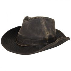 3f91c9be634 Dorfman Pacific Brown Weathered Outback Cowboy Hat w  Chin Cord Cowboy Hats