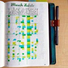 Here's how my #habittracker turned out for March! I love the color combo, but clearly I'm doing better in some areas than in others. 😳 For next month, I'll definitely be making some modifications, both in what I track and in my own activities. (Like actually exercising!!) . I may try shifting at least some habits to a weekly setup - I really like how this monthly page saves me setup time and how I can see it all at once, but I'm wondering if tracking on a weekly basis might be more…