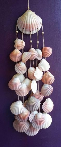 18 Shell art Pins you might like shell crafts Seashell Wind Chimes, Diy Wind Chimes, Seashell Art, Seashell Crafts, Seashell Mobile, Sea Crafts, Diy And Crafts, Arts And Crafts, Baby Crafts
