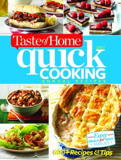Introducing 2017 Taste of Home Quick Cooking Annual Recipes, the only collection packed with every rapid recipe, time-saving tip and shortcut from the past year of Simple & Delicious magazine. It's a best-seller year after year!  600+ recipes & tips—from the past year of Simple & Delicious, plus BONUS dishes! Big variety! 5-ingredient recipes, holiday and seasonal pleasers, slow-cooked favorites, grilling specialties and more! 400+ gorgeous photos, a delight to page through.pure cooking…