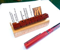 Custom Desk Name Plate / Business Card Holder   by DustyNewt, $14.95