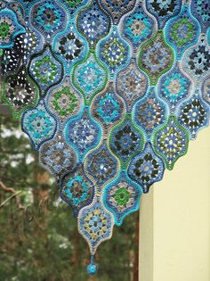 Сrochet shawl  crochet cotton shawl  blue shawl  hand