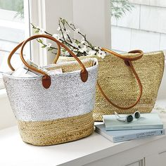 Metallic Gold and Silver Woven Market Tote  I  Bridesmaids Gifts