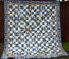 Make a few of these beautiful, blue full bed quilts for your own home and as gifts for friends and family. The My Blue Heaven Bed Quilt combines blue and tan scraps in an Ohio star quilt pattern modified with puss in the corner blocks.