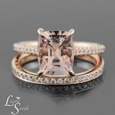 Fang Prong Set Morganite Ring with Diamond Wedding Band in Rose Gold - LS3847