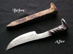 Creative Inspiration: Railroad spike made into a hand-forged knife