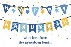 Personalized Fun Hanukkah Streamers Gift Stickers