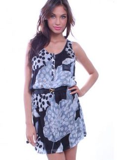 Blue Printed Racerback Dress with Button Down Front Top,  Dress, racerback  button embellishments  floral pattern, Chic