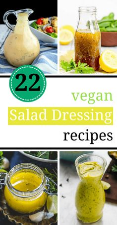 These homemade Vegan Salad Dressing Recipes are light years better than store-bought ones. They are healthy, dairy-free, clean-eating AND cheap (some of the are oil-free). Made from creamy tahini, avocado, cashew and more tasty ingredients! Oil Free Salad Dressing, Salad Dressing Recipes, Avocado Oil Salad Dressing Recipe, Salad Dressing Healthy, Dairy Free Dressing Recipes, Tahini Salad Dressing, Clean Salad Dressings, Dairy Free Salads, Vegan Sauces