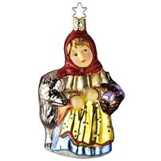 "Little Red Riding Hood 107209 - Inge-Glas of Germany Little Red Riding Hood on her way to grandma's with her basket of goodies.  Ornament measures approximately 5"". This heirloom"