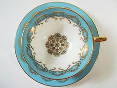 Aynsley Tea Cup and Saucer Set Light Turquoise and Gold