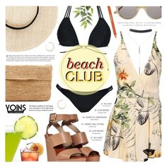 """Beach Club // Yoins"" by noviii ❤ liked on Polyvore featuring Wet Seal, Chloé, Hat Attack, Karine Sultan, Madras, Illesteva, Sisley Paris, Kerr®, straw and romper"