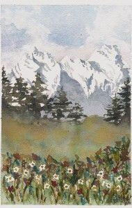 Mountain meadow Painting, Art, Watercolor Art