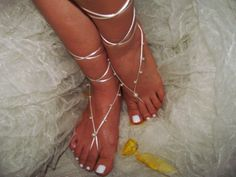 Ivory pearl  Beach wedding barefoot sandals bangle by newgloves, $8.00