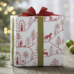Winter Village Gift Wrap  | Crate and Barrel
