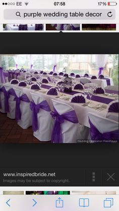 Purple bows and tablecloths