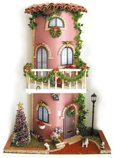 De Todo Un Poco . Clay Houses, Ceramic Houses, Paper Houses, Miniature Fairy Gardens, Miniature Houses, Clay Projects, Projects To Try, Dolly House, Clay Flower Pots