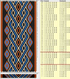 40 cards, 4 colors, repeats every 8 rows, GTT༺❁ Inkle Weaving, Inkle Loom, Card Weaving, Weaving Art, Tablet Weaving Patterns, Bead Loom Patterns, Finger Weaving, Willow Weaving, Viking Knit