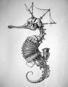seahorse by . - seahorse by . Kunst Tattoos, Tattoo Drawings, Body Art Tattoos, Art Drawings, Weird Drawings, Pet Anime, Steampunk Kunst, Steampunk Drawing, Arte Sketchbook