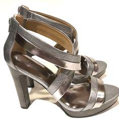 05db64afcb Authentic Coach Brynn Cuba Sandals Metallic Platform Silver Heels Sz 9.5 M