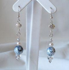 Now on Etsy! Blue agate and pearl earrings / Fine jewelry / by Brides Rules ********* Boucles d'oreilles d'agate bleu et de perles / par Brides Rules