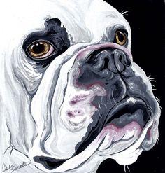 English Bulldog Original Pet Dog Art Painting -Carla Smale-BobbysBears