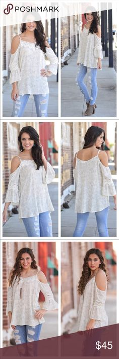 "Whimsical cold shoulder tunic Coming soon!!! Loose fit with lace detail.                                         100% rayon.                                                                                      Bust: S-19"" M-20"" L-21"" (measured laying flat).                                      Length: S-25/30"" M-26/31"" L-27/32"" Infinity Raine Tops Blouses"