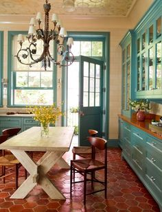 The same turquoise kitchen, different view-- but with a different floor/ceiling. House of Turquoise. Sweet Home, House Of Turquoise, Turquoise Room, Red Turquoise, Kitchen Colors, Kitchen Layout, Home Interior, Farmhouse Interior, Interior Paint