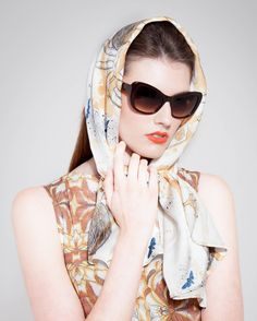 Tarantula Silk Satin Scarf - Head Scarf - Retro Look - 1950s Inspiration - Accessories - Silk Scarves - Scottish Fashion - Made in Scotland - Grace Kelly Style