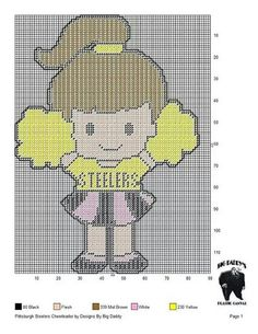 This would be an adorable graphgan! Go Steelers Plastic Canvas Crafts, Plastic Canvas Patterns, Crochet Projects, Sewing Projects, Nfl Bears, Cross Stitch Boards, Canvas Designs, Perler Patterns, Book Crafts