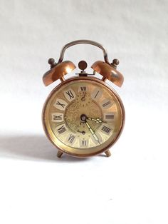 Vintage French Copper Japy Alarm Clock by AbeilleAntiques on Etsy, $38.00