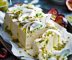 Sugar-free salted coconut and passionfruit semifreddo recipe - By Australian Women& Weekly, This divine dessert is the perfect finish to a summer barbeque. Sugar-free and dairy-free too, it will hit the spot! Sugar Free Recipes, Sweet Recipes, Cake Recipes, Christmas Lunch, Christmas Desserts, Frozen Desserts, Just Desserts, Dessert Aux Fruits, Ice Cream Recipes