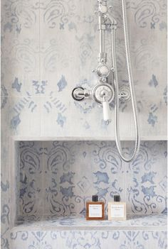 blue and white tiles in bathroom: Oakhill Court by Ardesia Design Bad Inspiration, Bathroom Inspiration, Interior Inspiration, Bathroom Ideas, Bathroom Remodeling, Bathroom Styling, Budget Bathroom, Basement Remodeling, Remodeling Ideas