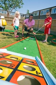 Turn your backyard into a mini golf course! fun for the whole family