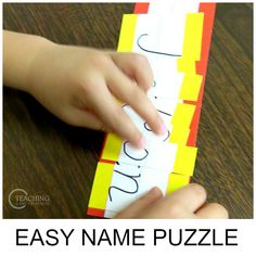 Preschoolers love their name - often it& the first word they can read. Here is a super easy name puzzle that will teach the letters in their names! Name Puzzle, Early Literacy, Literacy Activities, Learning Centers, Spelling, Back To School, Preschool, Playing Cards, Names