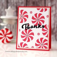Throwback Thursday: Candy Cane Christmas. Thanks Card by Wanda Guess for Papertrey Ink (December 2017)