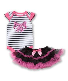 Love this Baby Glam Black Stripe Leopard Bow Bodysuit & Ruffle Skirt - Infant by Baby Glam on #zulily! #zulilyfinds