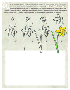 draw a daffodil In a green bowl? - theDRAWpage.com