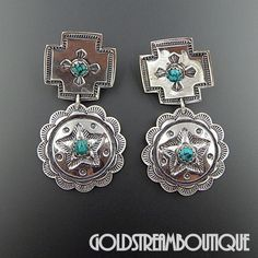 Native American Navajo Sterling Silver American Turquoise Stamped Cros – Gold Stream Boutique