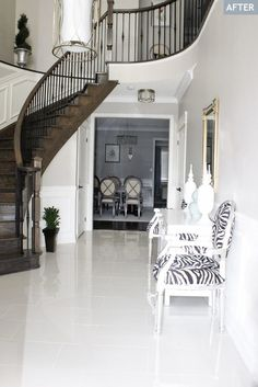 Chic White Tile Floor Design