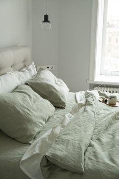 Linen pillowcase in Sage Green / Standard, Full, Queen, King, Euro, Custom size / Stonewashed europe