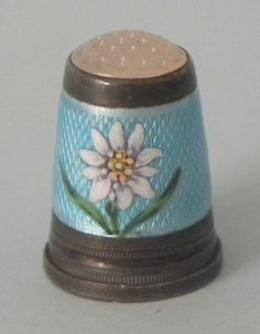 Fine Antique Gilt Silver Guilloche Enamel Sewing Thimble Daisy | eBay /  Mar 18, 2014 / US $97.96