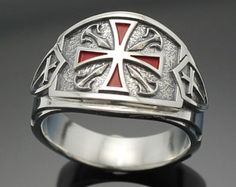 Knights Templar Masonic Cross ring in Sterling by ProLineDesigns